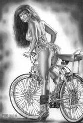 Bicycle and Model by Ricardofantasyart