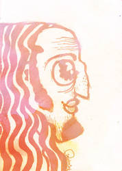 long haired balding man by pigologist