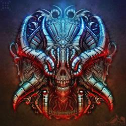 Biomechanical Chrome Skull by noistromo