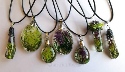 Moss Terrarium Necklace Batch by ValkyrieVale