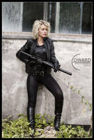 Mandy with machine gun by Edward-Photography