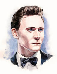 watercolor portrait of Mr. Hiddleston by KseniaParetsky