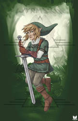 Link in a forest with some spooky bois by Wyrmskin