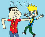 Quagmire punches Johnny Test by mippytrippy