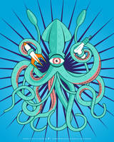 Giant Squid Attack by fractma