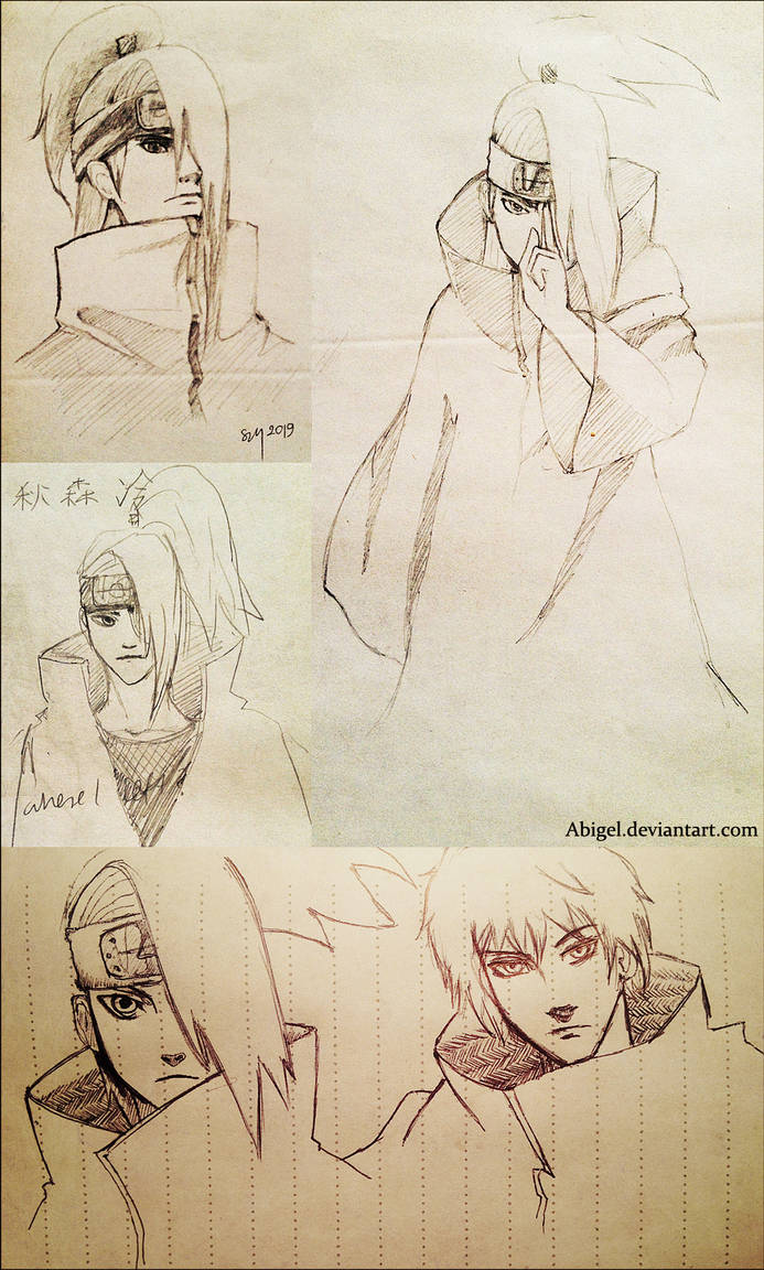Deidara sketches and Sasori by Abigel