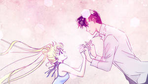 Manga Coloring: Sailor Moon: Usagi and Mamoru by bakaprincess85