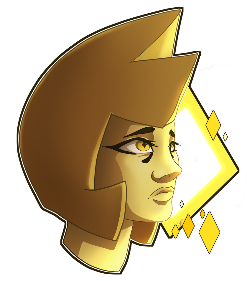 I decided to do digital again^^ I am really pleased with how this drawing came out. This is Yellow Diamond from Steven Universe with a kind of pained expression on her face...like sadness. I think ...