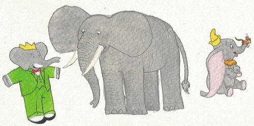 Babar, Dumbo, and the elephant by brazilianferalcat