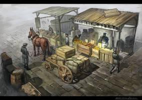 Fruit Merchant. Fruit stall by dsorokin755