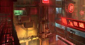 Cyberpunk. Otaku Place, Street View by dsorokin755
