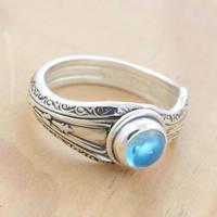 Spoon Ring w Mirror-y Blue Topaz by metalsmitten
