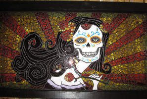 Day of the Dead Glass Mosaic by reflectionsshattered