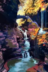 Speedpaint waterfall by Pegaite