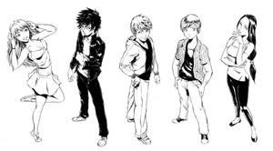 R.u.N. Main Characters B+W by Mangatellers