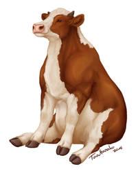 Sitting cow by TaruHanako