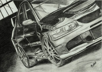 Mitsubishi Lancer Evo IX 9 Car Drawing Realistic by MaxBechtold