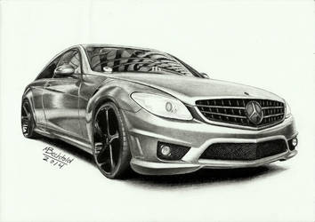 Mercedes Benz CL 63 AMG  Realistic Car Drawing by MaxBechtold