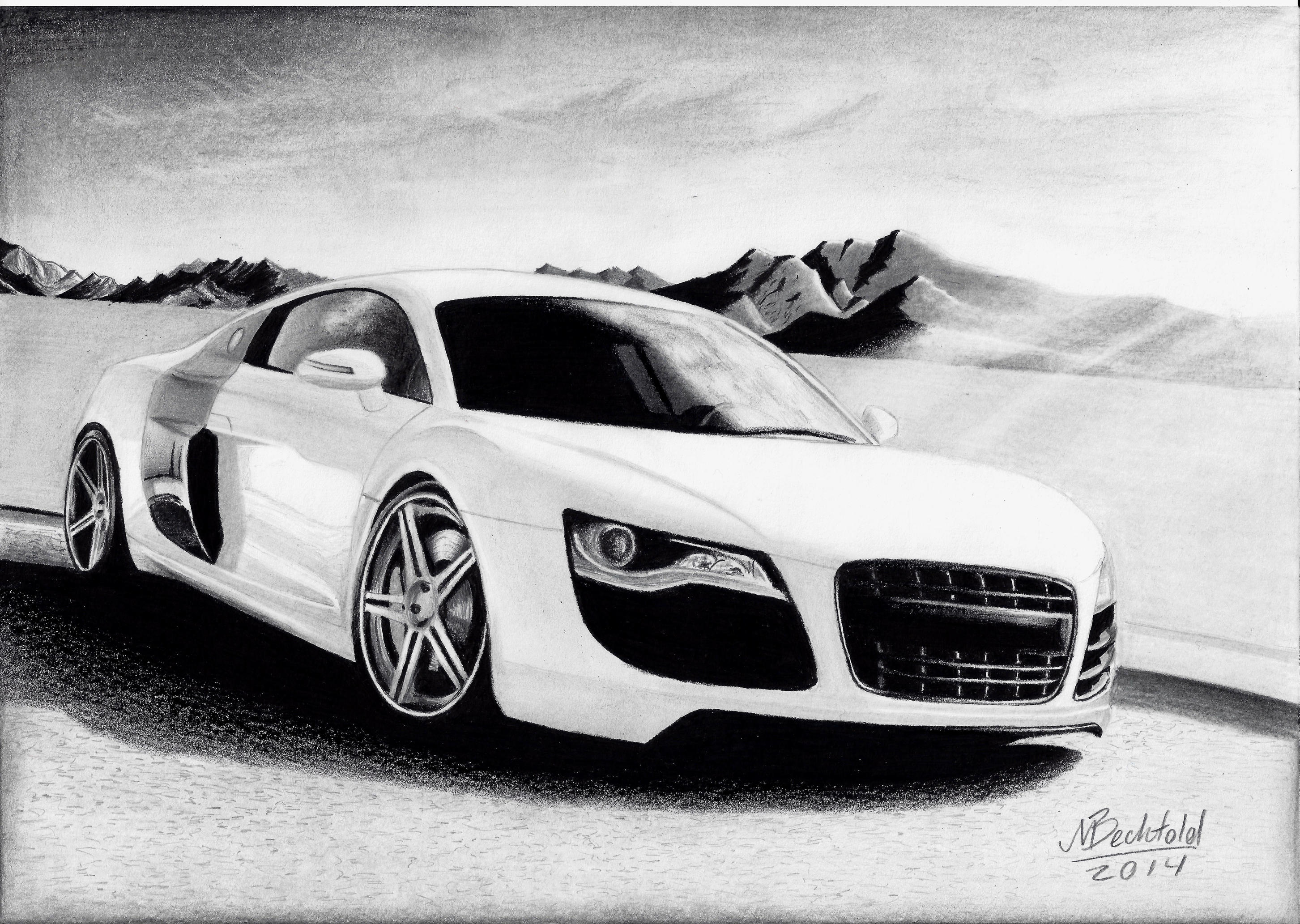 Audi R8 White Mountains Realistic Car Drawing By Maxbechtold On