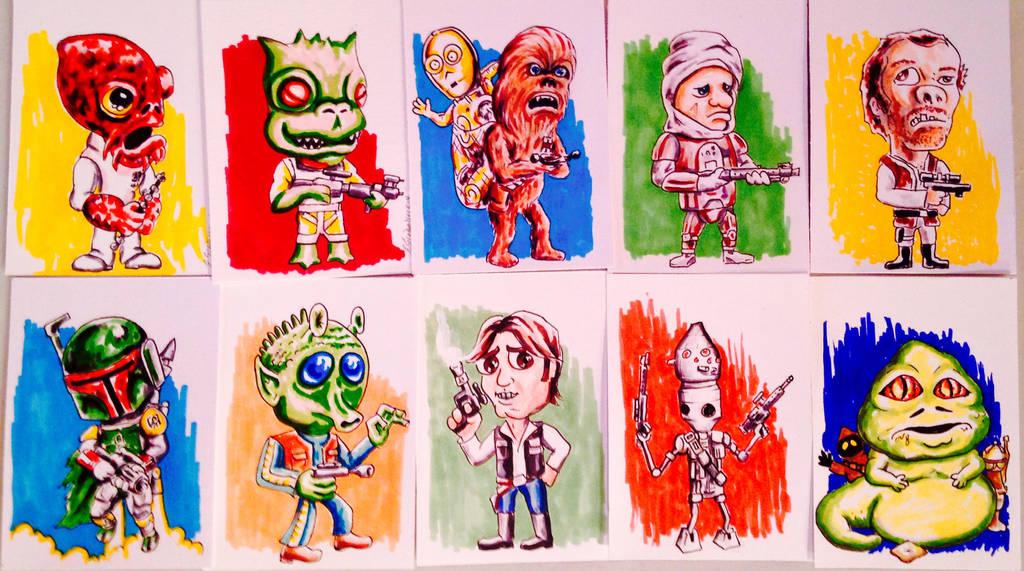 Star Wars Alphabet A-J Sketch Cards by siebo7