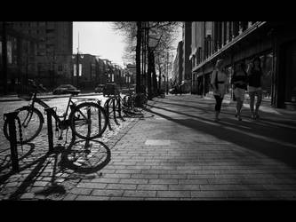 A bicycle and 3 young women by StephanePellennec