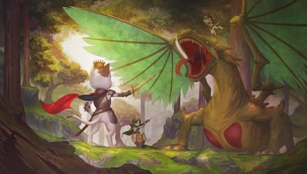 Dragon vs Kittens by Marfrey