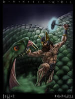 Thor battling Jormungandr by rob-powell