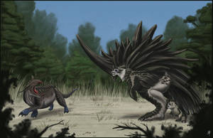 Megacerasornis vs. Blue-footed Tetradon by rob-powell