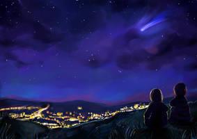 Komet Am Nachthimmel by Mellodee