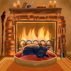 By the Fireplace by Mellodee