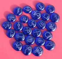 Blue Glass Reiki Stones by SerpentineFyre