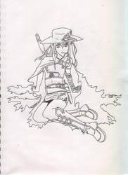 Warrior Lady- Outline by ToraKage-BlackLight