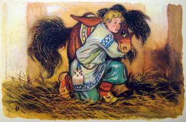 The horse comforted the fearful Ivan by Cosaco