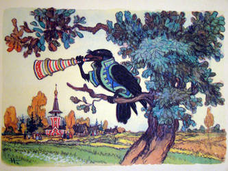 A crow played the horn by Cosaco