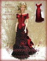 Age of Innocence - Red Victorian Dress by Encantadas