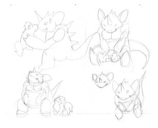 Nidoking Growlithe sketches by LoreMaster01