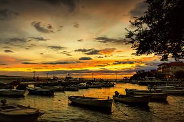 Sunset Port Starigrad Croatia by rudoma