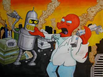 Bender Vs Zoidberg by DarkLinkFire