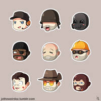TF2 Cute Mercenary Sticker Set by JoTheWeirdo