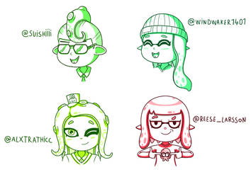 Splatoon 2 character sketches by JoTheWeirdo