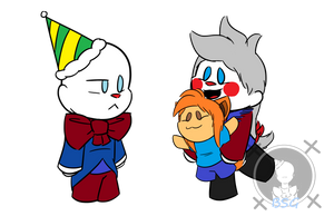 Chibi Ennard and Minda with Blu by Blustreakgirl