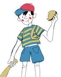 ness with a burger and a baseball bat by twilipi