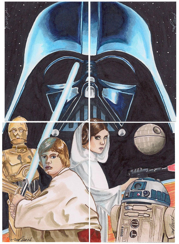 Puzzle Card Star Wars Darth Vader Luke Leia C3PO by Purple-Pencil