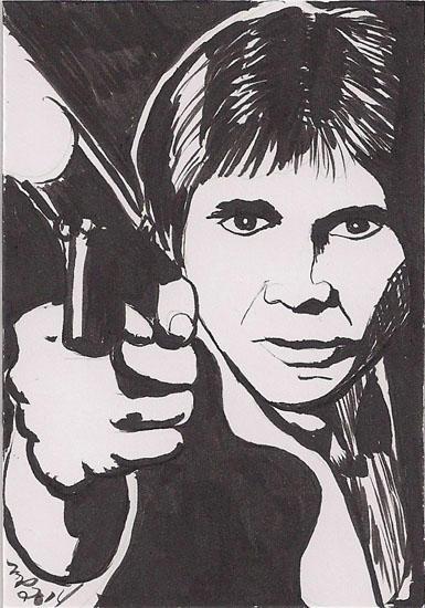 Han Solo Black and White Brush Pen by Purple-Pencil