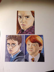 Harry, Hermione, Ron Harry Potter by Purple-Pencil