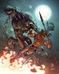 Fenrir vs Tyr by marimoreno