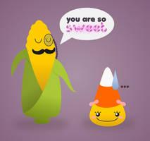 Monsieur Corn + Miss CandyCorn by wildgica