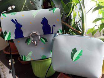 Bunny+Cat Shoulder Bag by wildgica