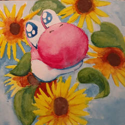 Pink Yoshi and Flowers Watercolor by SunScales