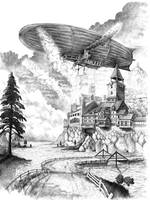 airship over town by O-b-s-e-r-v-e-R